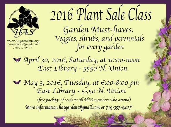 2016 Plant Sale lecture announcment